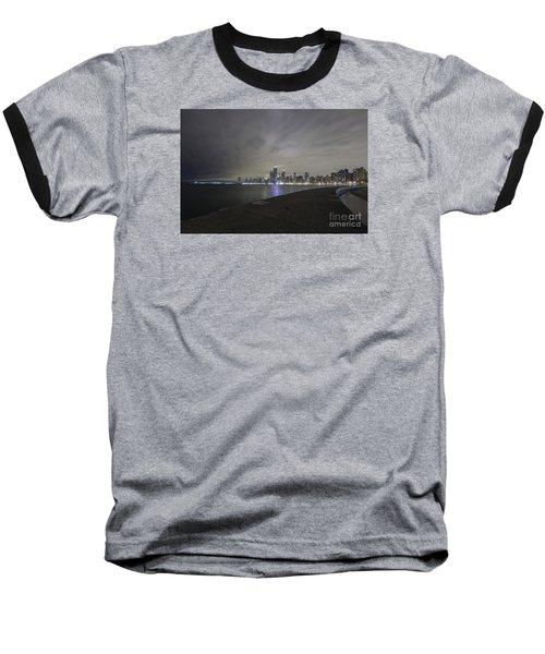 Chicago Skyline At Night Baseball T-Shirt