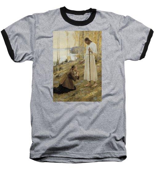 Christ And Mary Magdalene Baseball T-Shirt by Albert Edelfelt