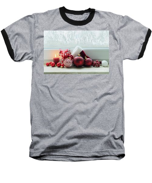 Christmas Windowsill Baseball T-Shirt