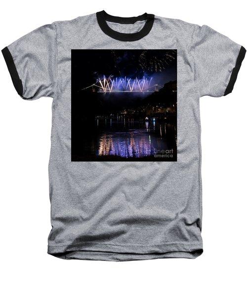 Clifton Suspension Bridge Fireworks Baseball T-Shirt