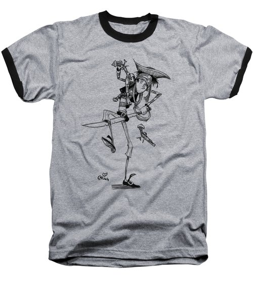 Clumsy Pirate Baseball T-Shirt by Andy Catling