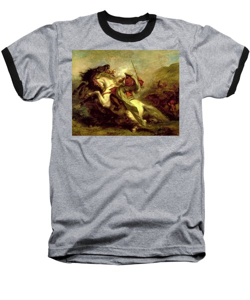 Baseball T-Shirt featuring the painting Collision Of Moorish Horsemen by Eugene Delacroix