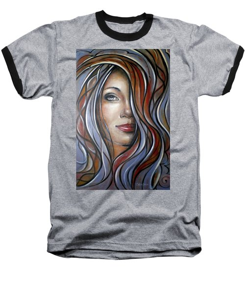 Baseball T-Shirt featuring the painting Cool Blue Smile 070709 by Selena Boron