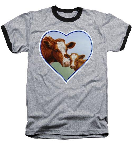 Cow And Calf Blue Heart Baseball T-Shirt