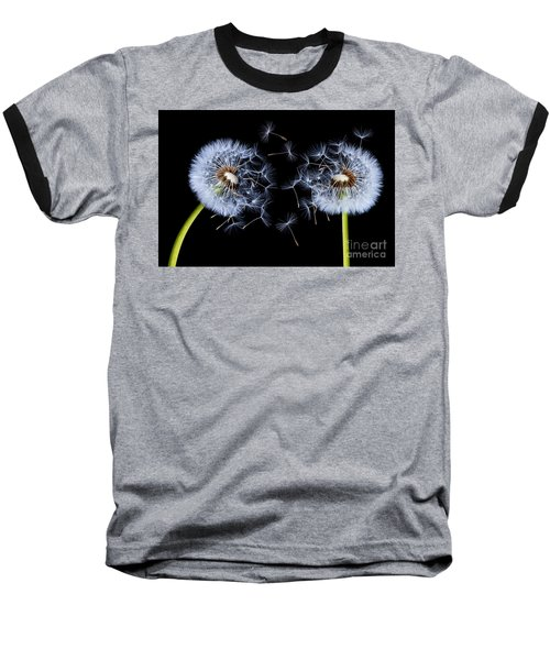Baseball T-Shirt featuring the photograph Dandelion On Black Background by Bess Hamiti