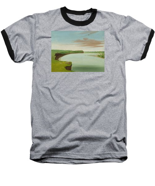 Distant View Of The Mandan Village Baseball T-Shirt by George Catlin