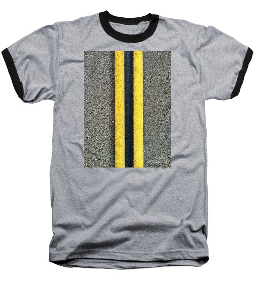 Double Yellow Road Lines Baseball T-Shirt