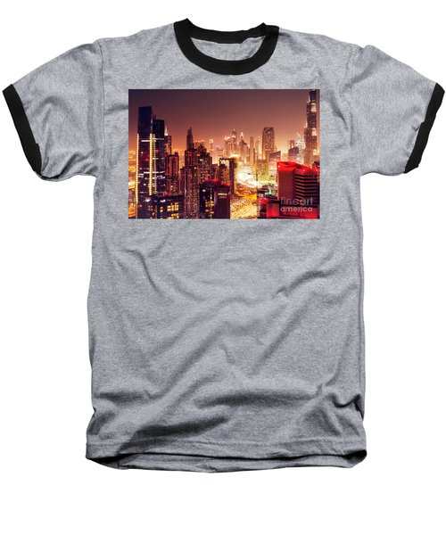 Dubai City At Night Baseball T-Shirt