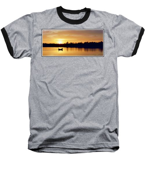 Fishermen On A Lake At Sunset Baseball T-Shirt by A Gurmankin