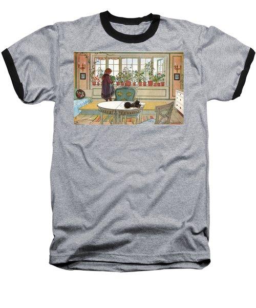 Flowers On The Windowsill Baseball T-Shirt