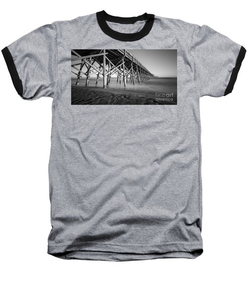 Folly Beach Pier Black And White Baseball T-Shirt