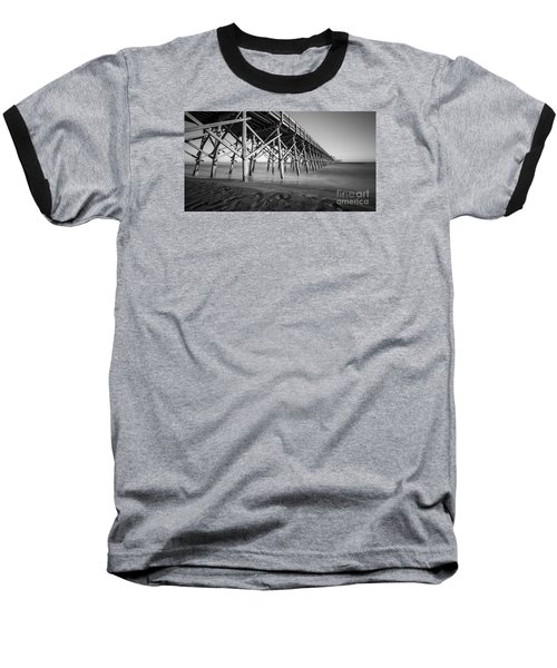 Folly Beach Pier Black And White Baseball T-Shirt