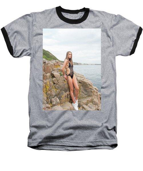 Girl In Black Swimsuit Baseball T-Shirt