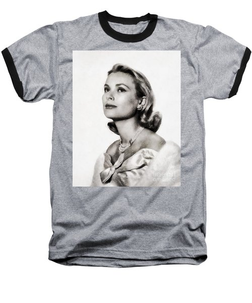 Grace Kelly, Vintage Hollywood Actress Baseball T-Shirt by John Springfield