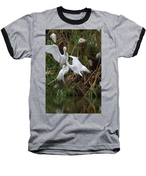 Great Egret Feeding Their Young - Digitalart Baseball T-Shirt