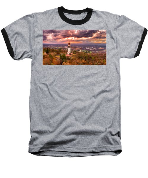 Baseball T-Shirt featuring the photograph Heublein Tower, Simsbury Connecticut, Cloudy Sunset by Petr Hejl