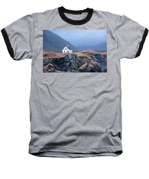 House On Ocean Cliff In Iceland Baseball T-Shirt