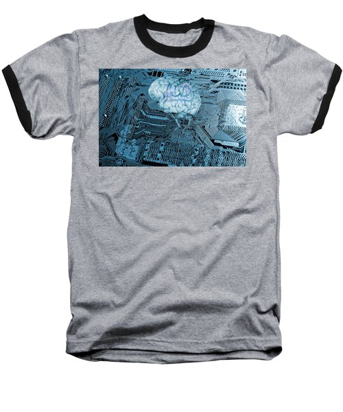 Baseball T-Shirt featuring the photograph Human Brain And Communication by Christian Lagereek