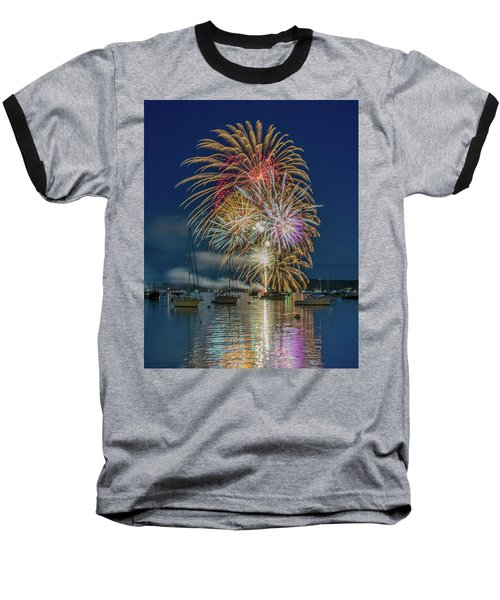 Independence Day Fireworks In Boothbay Harbor Baseball T-Shirt