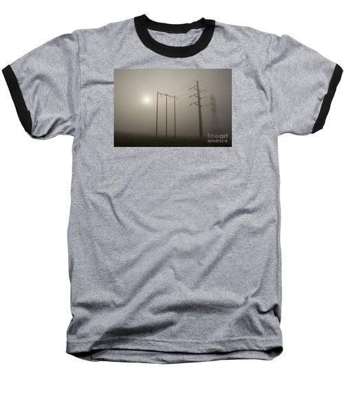 Large Transmission Towers In Fog Baseball T-Shirt