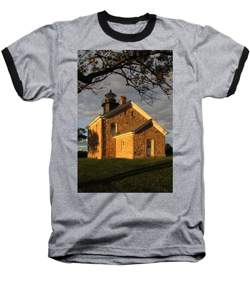 Lighthouse Old Field Point New York Baseball T-Shirt by Bob Savage