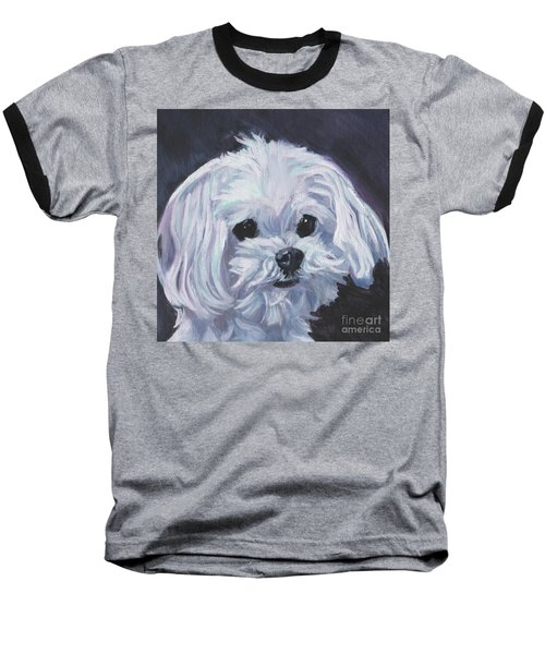 Baseball T-Shirt featuring the painting Maltese by Lee Ann Shepard