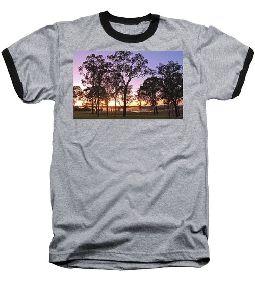 Misty Rural Scene With Dam And Trees Baseball T-Shirt