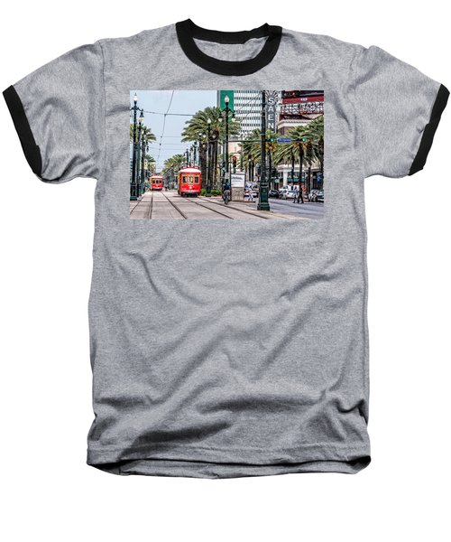 Baseball T-Shirt featuring the photograph New Orleans Canal Street Streetcars by Andy Crawford