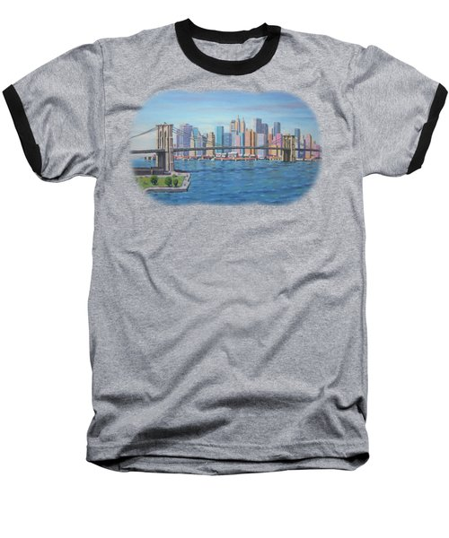 New York Brooklyn Bridge Baseball T-Shirt by Renato Maltasic