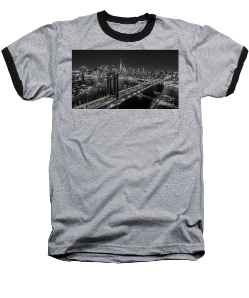 New York City, Manhattan Bridge At Night Baseball T-Shirt by Petr Hejl