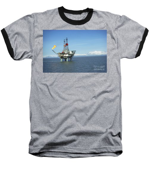 Offshore Oil Drilling Platform, Alaska Baseball T-Shirt