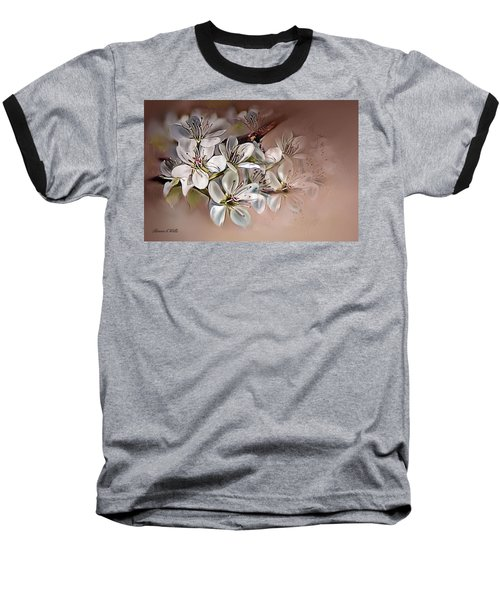 Baseball T-Shirt featuring the painting Oriental Pear Blossom by Bonnie Willis