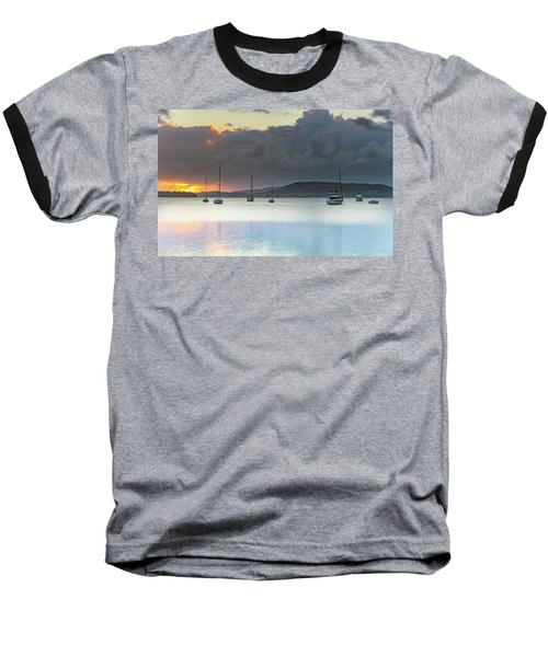 Overcast Sunrise Waterscape Baseball T-Shirt