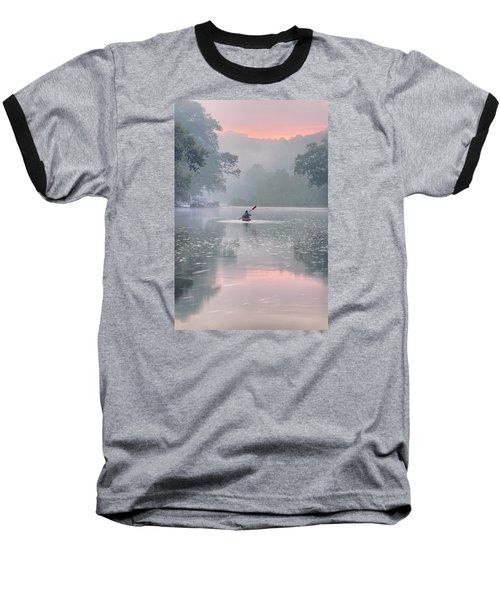 Paddling In Mist Baseball T-Shirt by Robert Charity