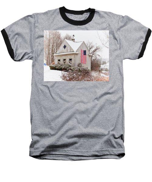 Patriotic Barn Baseball T-Shirt by Tricia Marchlik