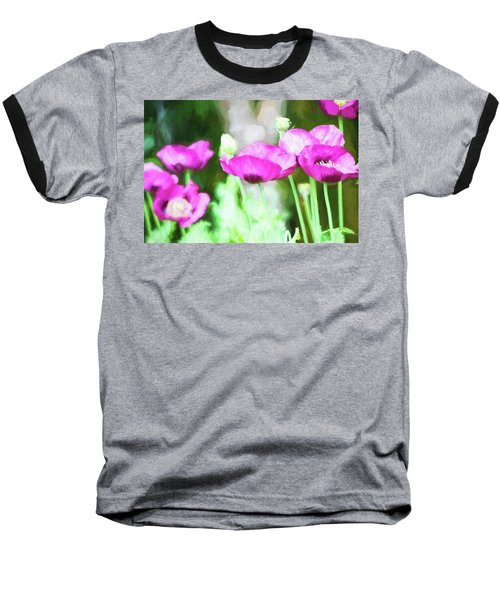 Baseball T-Shirt featuring the painting Poppies by Bonnie Bruno