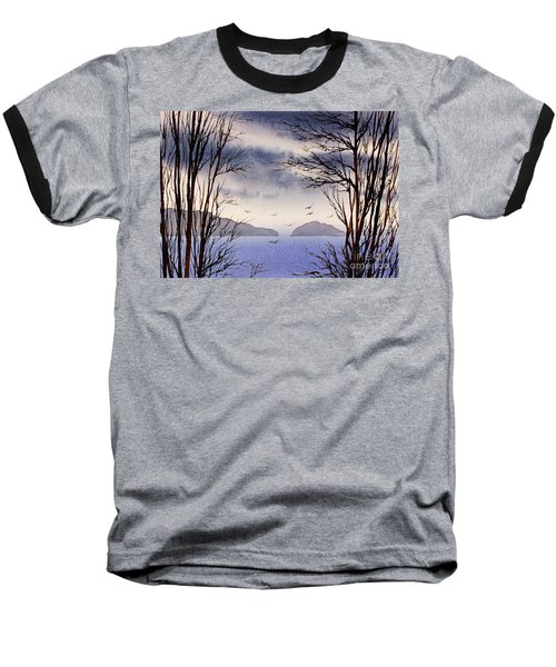 Baseball T-Shirt featuring the painting Quiet Shore by James Williamson