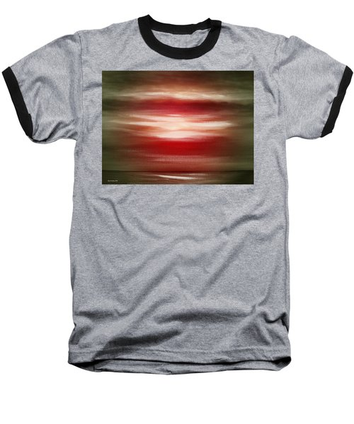 Red Abstract Sunset Baseball T-Shirt