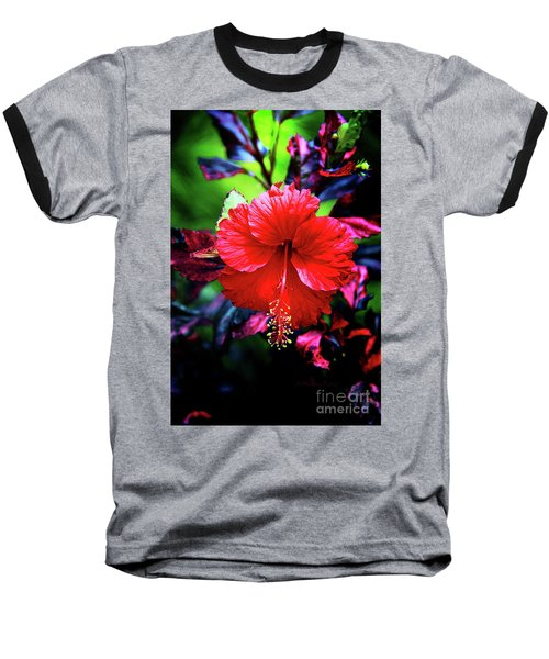 Red Hibiscus 2 Baseball T-Shirt by Inspirational Photo Creations Audrey Woods