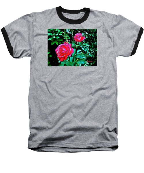 Baseball T-Shirt featuring the photograph 2 Red Roses by Sadie Reneau