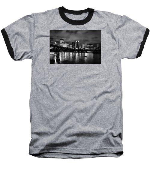 Richmond Skyline At Night Baseball T-Shirt
