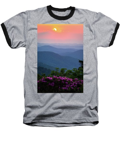 Roan Mountain Sunset Baseball T-Shirt by Serge Skiba