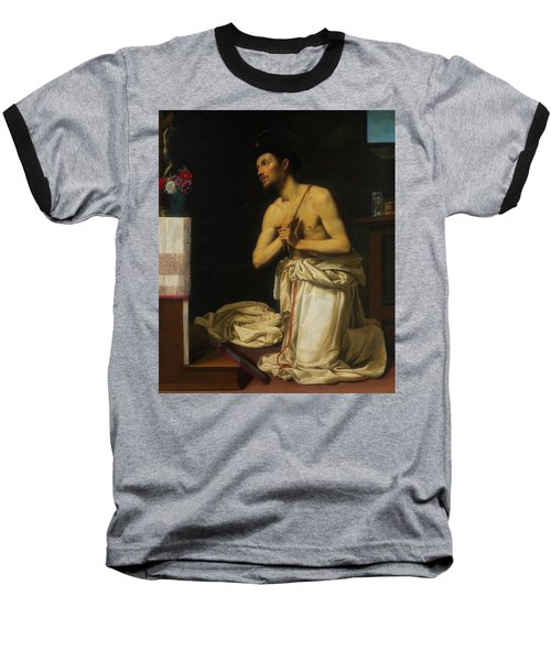 Baseball T-Shirt featuring the painting Saint Dominic In Penitence by Filippo Tarchiani