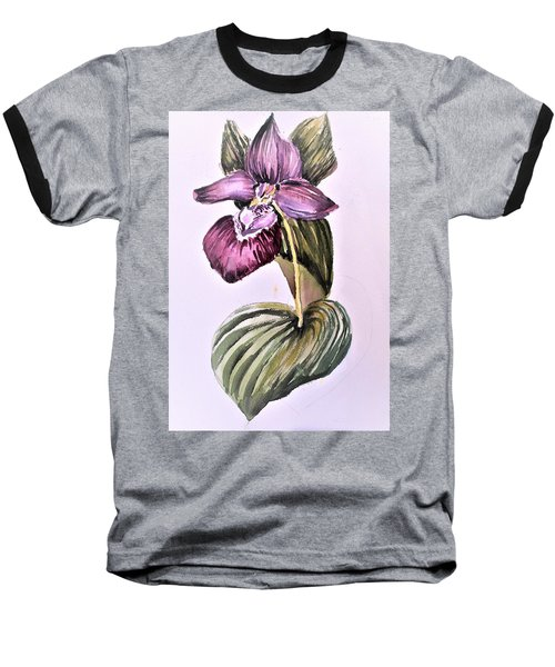 Baseball T-Shirt featuring the painting Slipper Foot Orchid by Mindy Newman