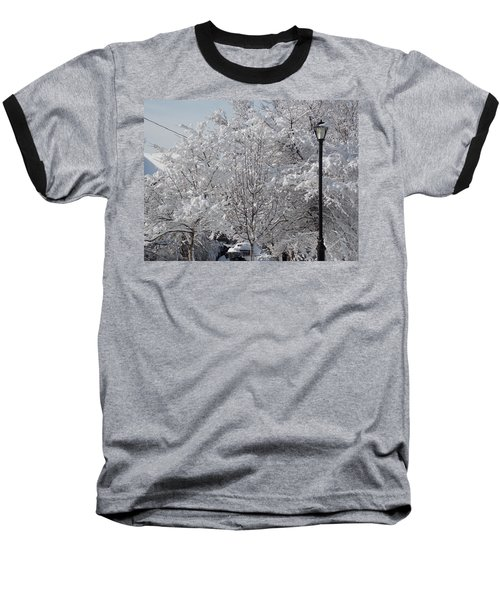 Snow Covered Trees Baseball T-Shirt