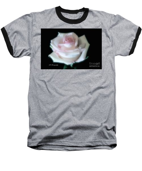 Soft Pink Rose Bud Baseball T-Shirt by Jeannie Rhode