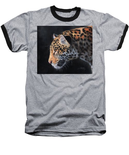 Baseball T-Shirt featuring the painting South American Jaguar by David Stribbling