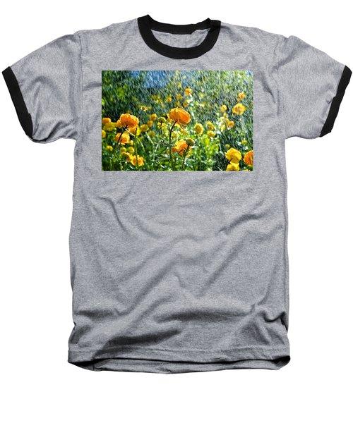 Spring Flowers In The Rain Baseball T-Shirt