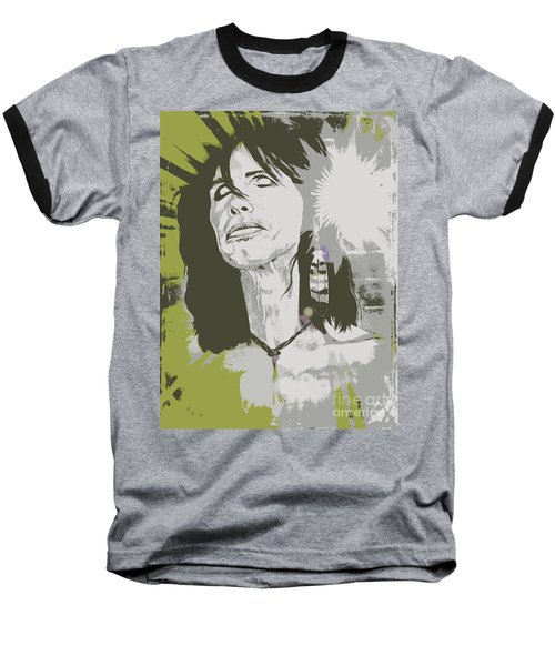 Baseball T-Shirt featuring the painting Steven Tyler  by Jeepee Aero