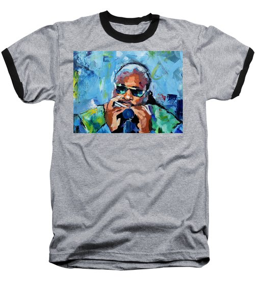 Baseball T-Shirt featuring the painting Stevie Wonder by Richard Day